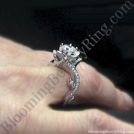 lotus swan engagement ring2 - Lotus Wedding Ring