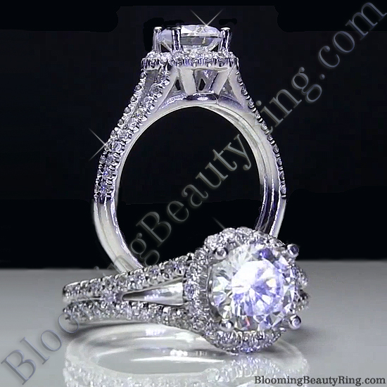 Pave Halo Engagement Ring with Open Bridge Design - bbr496-1