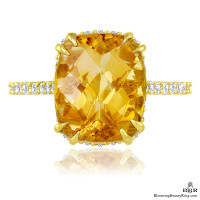 Petite Yellow Orange Madeira and Diamond Engagement Ring