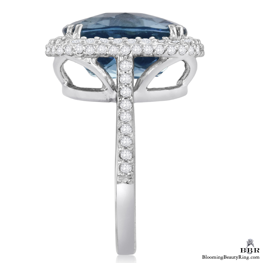 Rich Marine Blue Cushion Cut Topaz and Diamond 8 Prong Ring - jtr192w