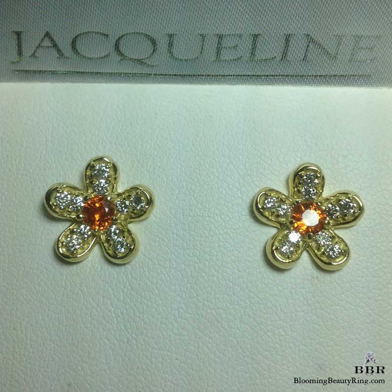Round Brilliant Cut Orange Sapphire and Diamond Flower Earrings - jte383