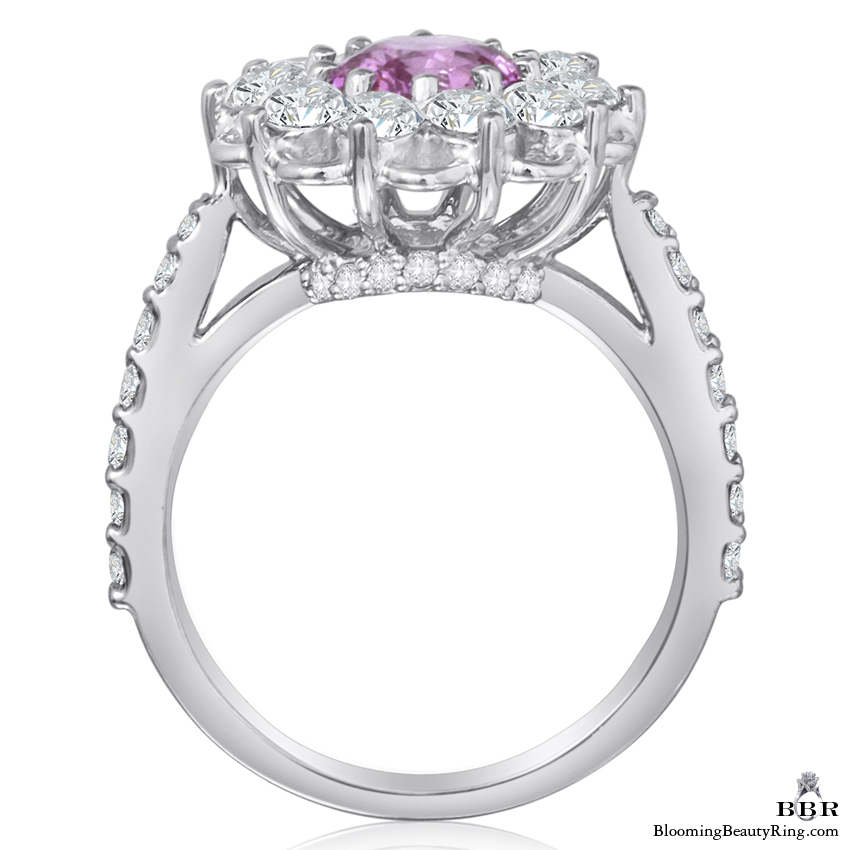 Brilliantly Faceted Round Pink Sapphire and Diamond Open Lace Gemstone Ring - jtr194