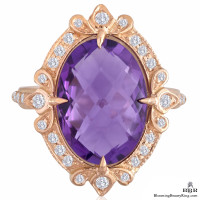 Signature Bright Purple Oval Amethyst and Diamond Right Hand Ring