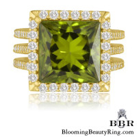 Vibrant and Brilliant Apple Green Peridot Gemstone Ring