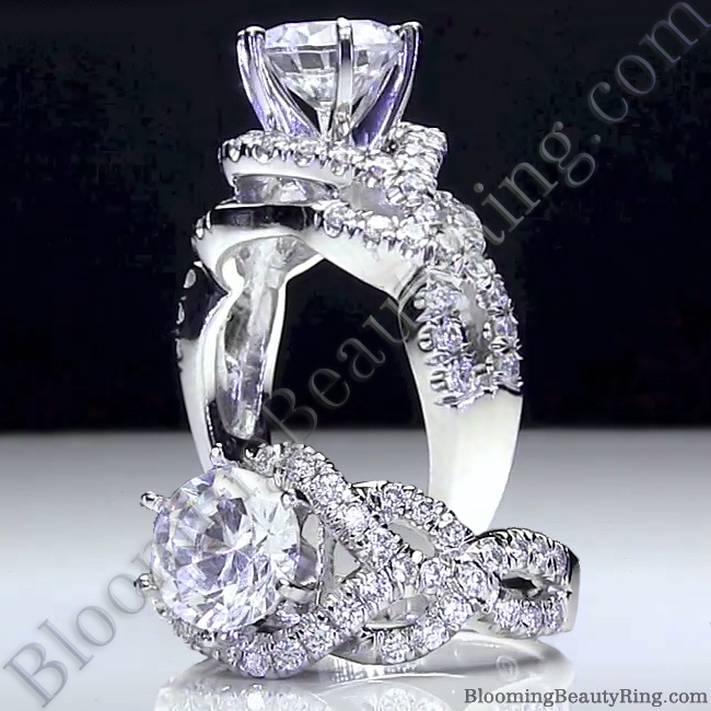 Unique Engagement Rings For Women: 6 Prong Beautiful Crossover Pave Set Designer Engagement
