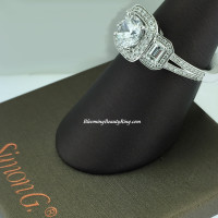 Simon G 3 Stone Diamond Halo Engagement Ring