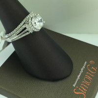 Simon G Diamond Hoop to Halo Wedding Ring Set