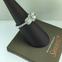 Simon G Elite 3 Stone Diamond Engagement Ring