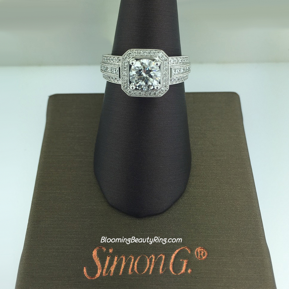 Simon G Passion Geometric Halo Engagement Ring - NR453