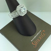 Simon G Passion Octagonal Halo Bridal Ring