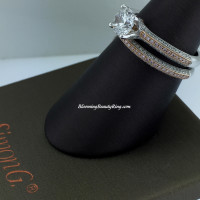 Simon G Pave Bridal Set with White and Pink Diamonds