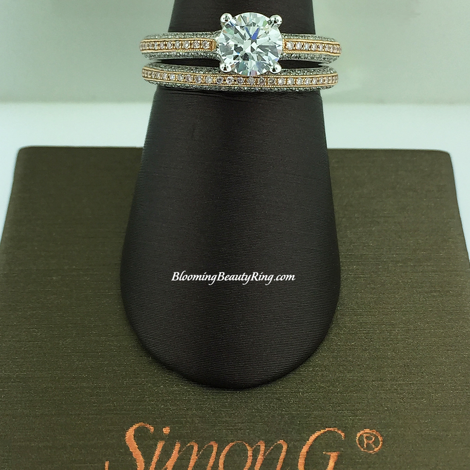 Simon G Pave Bridal Set with White and Pink Diamonds - LP1846-D