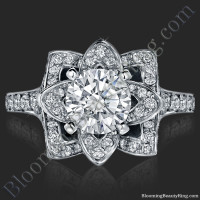 The 1.0ct Crimson Rose Flower Diamond Engagement Ring