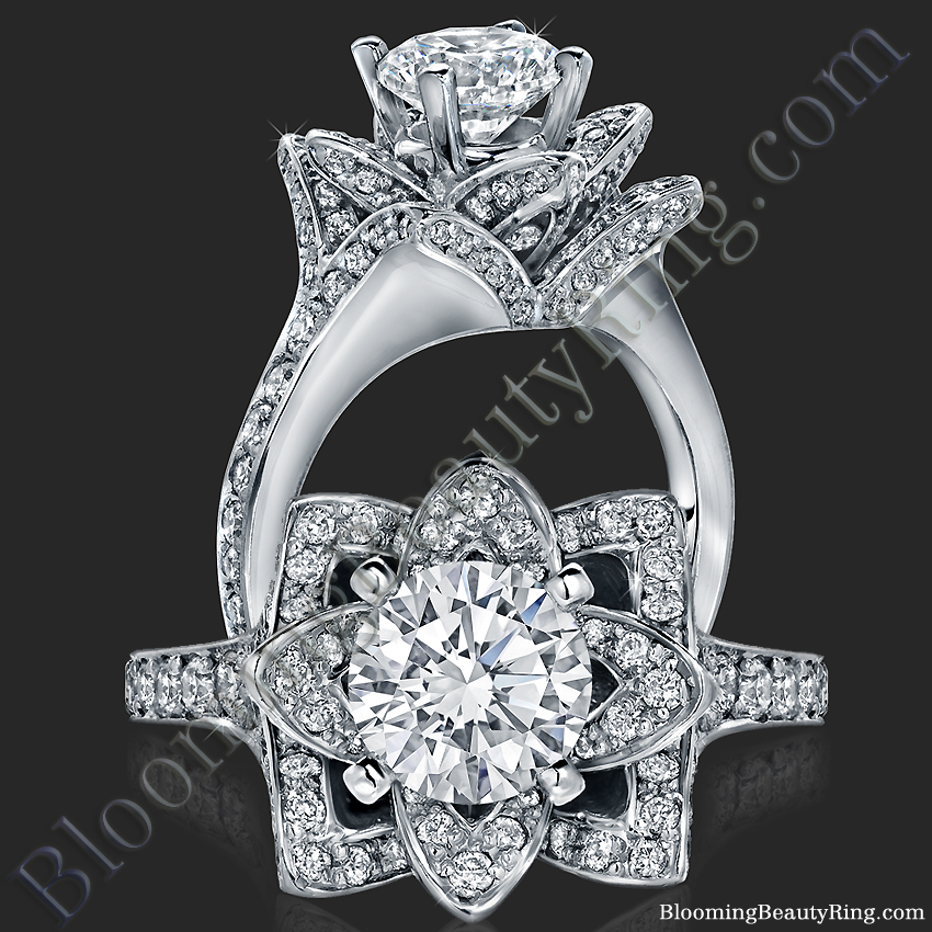 The Small Crimson Rose Flower Diamond Engagement Ring – bbr607-1
