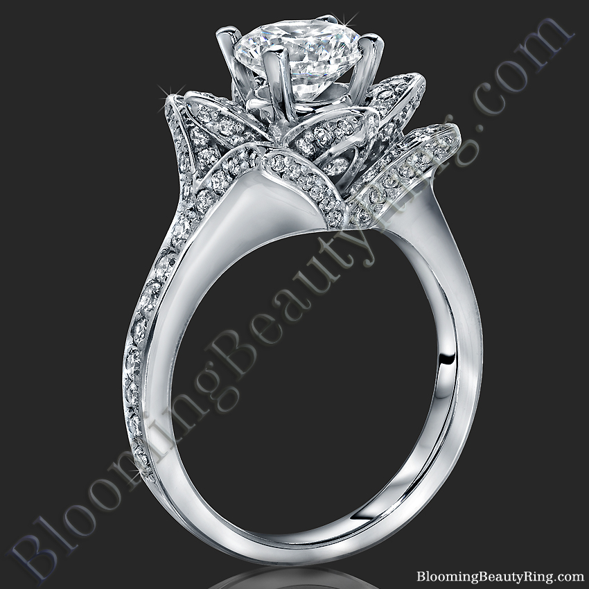 The Small Crimson Rose Flower Diamond Engagement Ring U2013 Bbr607-1 | Unique Engagement Rings For ...