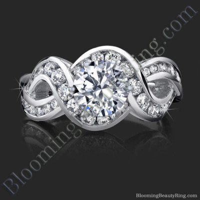 Crossover Style Band with Swirling Graduated Round Accent Diamonds - bbr452
