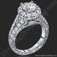 Diamond Go Round Halo Split Shank Engagement Ring 1