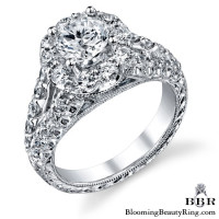 Diamond Go Round Halo Split Shank Engagement Ring 3