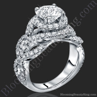 Double Twist Halo Diamond Engagement Ring 1