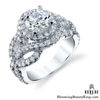 Double Twist Halo Diamond Engagement Ring 3