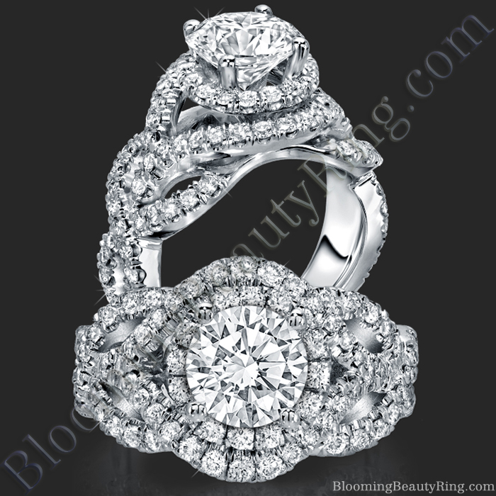 Double Twist Halo Diamond Engagement Ring - bbr592