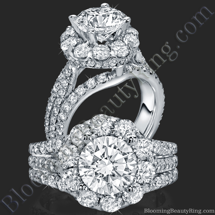 The Rising Diamond - Split Halo - Engagement Ring - bbr542