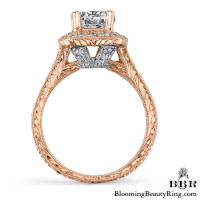 Two Toned White and Rose Gold Diamond Halo Engagement Ring