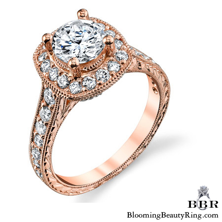 Two Toned White and Rose Gold Diamond Halo Engagement Ring - bbr372-rose