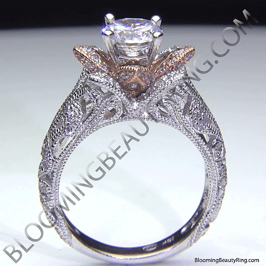 Art Carved Blooming Rose Flower Engagement Ring with Rose Gold