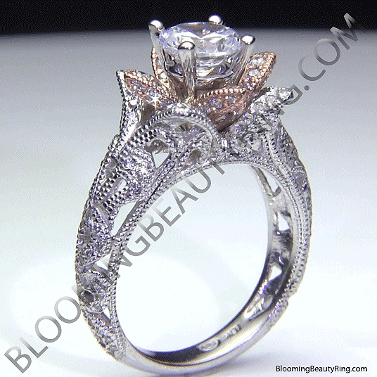 ... Art Carved Blooming Rose Flower Engagement Ring With Rose Gold Petals 3  ...