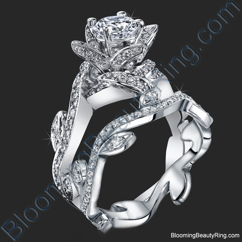 Lotus Ring with Leaves Diamond Engagement Ring Set