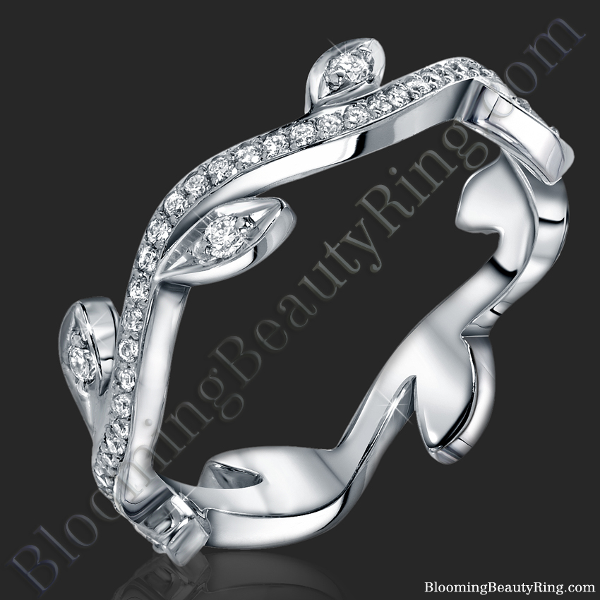 caviar pave wedding exceptional laurel ring leaf designs featuring collection jewelry handcrafted website stittgen band weddingbands bands fine by