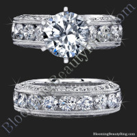 Spectacular Top Quality Round Diamond Engagement Ring Set