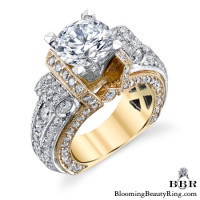 Two Tone Scrolling Tiffany Style Round Diamond Ring with Yellow and White Gold - bbr557-1