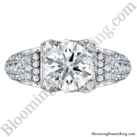 White Gold Scrolling Tiffany Style Round Diamond Engagement Ring