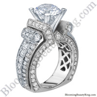 White Gold Scrolling Tiffany Style Round Diamond Engagement Ring - bbr557-1