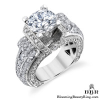 White Gold Scrolling Tiffany Style Round Diamond Ring