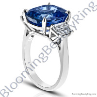 12.60 Carat Cushion Vivid Blue Sapphire 3 Stone Trap Ring - rcc20835-3