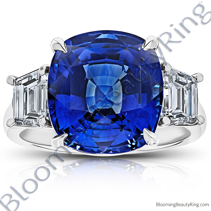 12.60 Carat Cushion Vivid Blue Sapphire 3 Stone Trap Ring - rcc20835