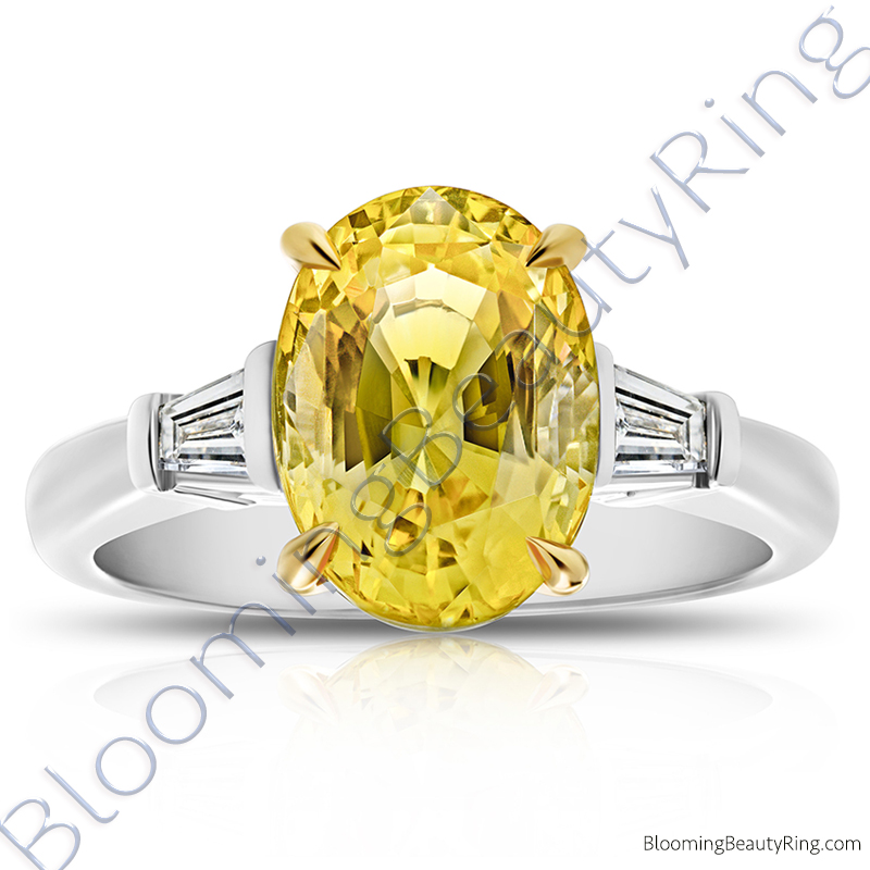 5.28 ctw. 3 Stone Oval Yellow Sapphire and Diamond Baguette Ring - rcc20808