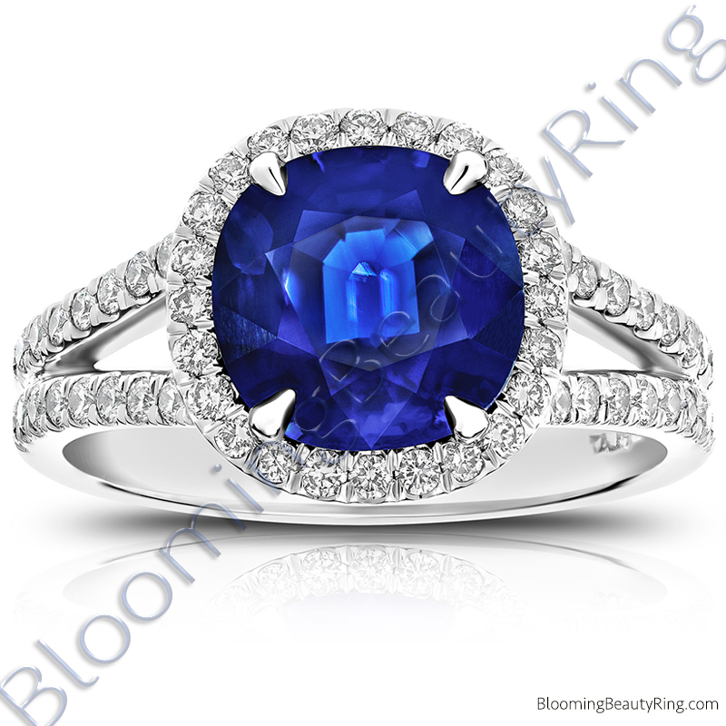 3.75 ctw. Blue Cushion Sapphire Halo Ring with 60 Round Diamonds - rcc20831