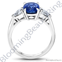 3.93 ctw. Cushion Blue Sapphire Ring with Pear Side Diamonds-3