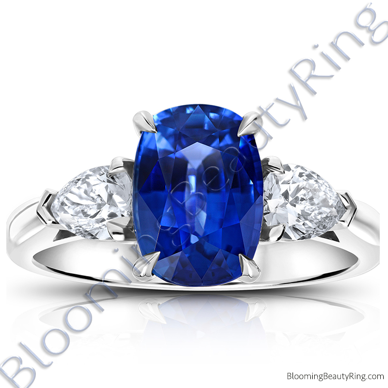 3.93 ctw. Cushion Blue Sapphire Ring with Pear Side Diamonds - rcc20668