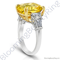 5 Stone 15.84 ctw. Yellow Octagonal Sapphire and Diamond Ring - 3