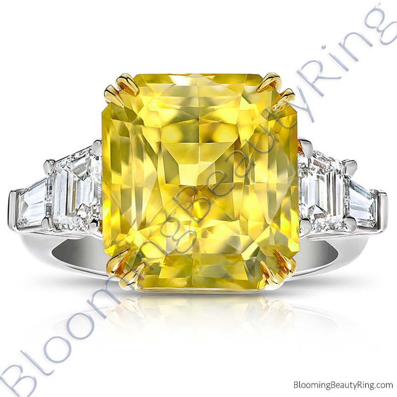 5 Stone 15.84 ctw. Yellow Octagonal Sapphire and Diamond Ring - rcc20898