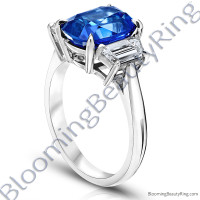 6.02ct. Cushion Blue Sapphire Ring with Trapezoid Side Stones-3