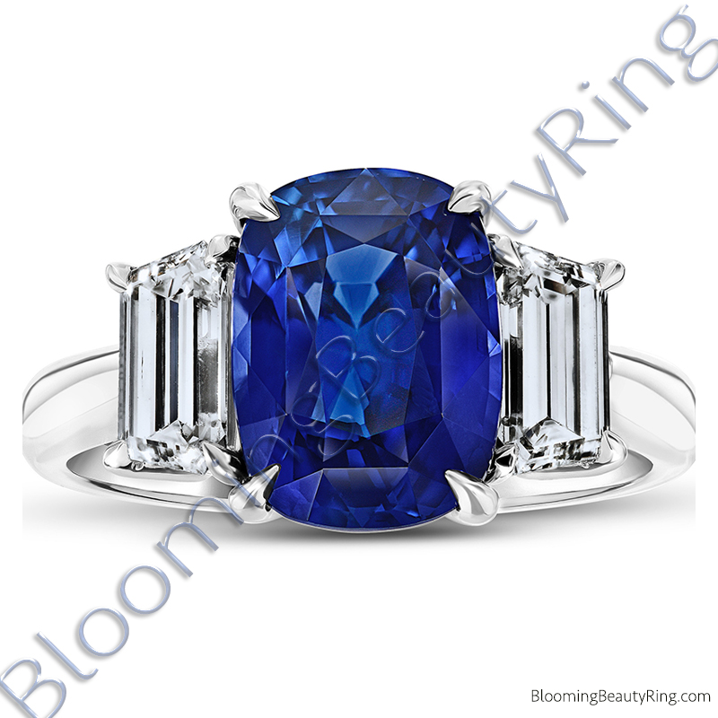 6.02ct. Cushion Blue Sapphire Ring with Trapezoid Side Stones - RCG20681