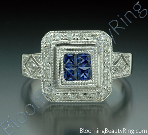 .57 ctw. Diamond and Blue Sapphire Double Square Top Ring - cgrRG5767