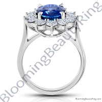 7.70 ctw. Diamond and Oval Blue Sapphire Princess Di Ring - rcc20839-3