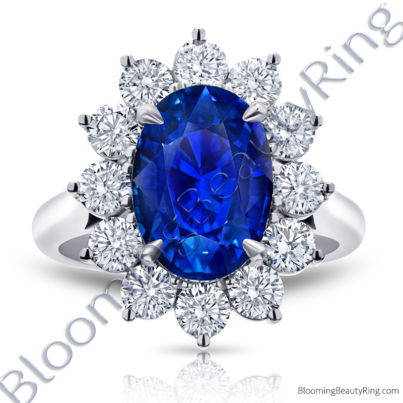 7.70 ctw. Diamond and Oval Blue Sapphire Princess Di Ring - rcc20839
